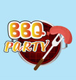 bbq party sausage on fork grill background vector image vector image