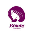 beauty salon logo beautiful girl or young woman vector image vector image