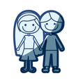 blue silhouette of caricature couple kids in vector image vector image