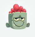 cartoon funny zombie head smiling vector image vector image
