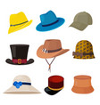 cartoon hats male and female stylish accessories vector image vector image