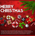 christmas background with elements red backgroud vector image vector image