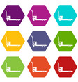 construction trolley icons set 9 vector image vector image