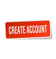 create account square sticker on white vector image vector image