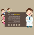 doctor and cute family background vector image vector image