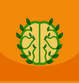 eco brain with leafs on ecology style with bashers vector image vector image