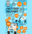 fast food online delivery service icons and signs vector image
