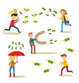 flat people catching money scenes set vector image vector image
