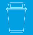 flip lid bin icon outline style vector image vector image