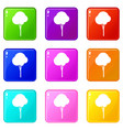 fluffy tree icons 9 set vector image vector image