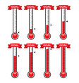 goal thermometers at different levels vector image vector image