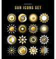 Gold set of sun design icons in modern style vector image vector image