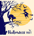halloween party card with witch and night moon vector image