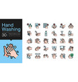 hand washing icons hygiene care antibacterial vector image