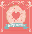 happy valentines day bite sweet donut hearts love vector image vector image