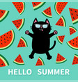 hello summer black cat wearing sunglasses jumping vector image vector image