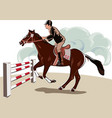 horse and rider during a jumping competition vector image vector image