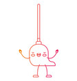 kawaii cartoon mop with wooden stick in degraded vector image vector image