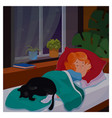 kid girl sleeping in her bedromm wit cat at night vector image vector image
