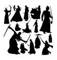 martial art warrior silhouettes vector image vector image