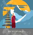 Nepal landmarks Retro styled image vector image vector image