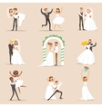 Newlyweds Posing And Dancing On The Wedding Party vector image vector image