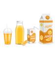 orange juice packaging container mockup set vector image vector image