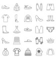 outgoing clothes icons set outline style vector image vector image