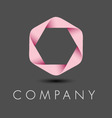 pink hexagon ribbon logo vector image