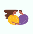 pregnant woman stroking her belly vector image vector image