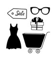 set icons for sale dress trolley gift box vector image