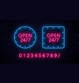 set of neon signs vector image vector image