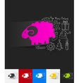 sheep paper sticker with hand drawn elements vector image vector image