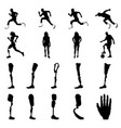 silhouettes amputee people with artificial limb vector image