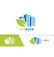 skyscraper and leaf logo combination house vector image vector image