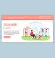 summer fair landing page template funfair vector image