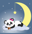 the sweet panda is sleeping on a cloud and a big vector image