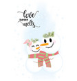 two cute snowmen love never melts vector image