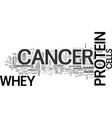 whey protein and cancer text word cloud concept vector image vector image