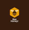 bee hexagon honey emblem comb vector image