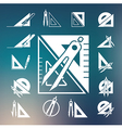 drawing compass icon set vector image