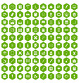 100 stationery icons hexagon green vector image vector image