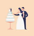 adorable newlyweds cutting cake with topper vector image vector image