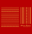 asian border set in vintage style on red vector image vector image