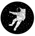astronaut in outer space black and white vector image