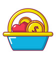 basket donate icon cartoon style vector image