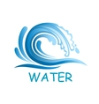Blue wave with water splashes vector image vector image