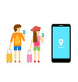 boy and girl traveller use mobile app art vector image