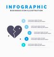 broken love heart wedding solid icon infographics vector image vector image