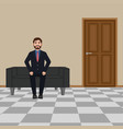 businessman sitting on the sofa bearded smiling vector image